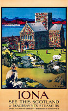 Iona Scotland, Old Vintage Travel Ad, Antique Poster, HD Art Print or Canvas
