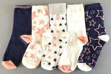5 Paar Damen Sterne Socken Set Glitzer Rose-Gold Bunt Weihnachten 37-42 Primark