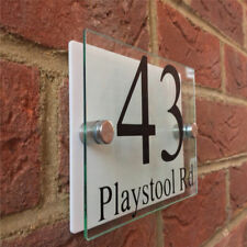 Custom 140*100mm House Sign modern door number ETCHED Acrylic Gloss White