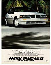 1986 Pontiac GRAND AM SE White 2-door Coupe Vintage Ad