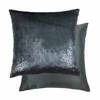 "METALLIC VELVET FEEL FAUX SILK DARK SILVER 22"" - 55CM CUSHION COVER"