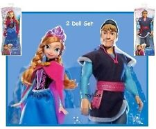 "Disney Frozen SPARKLE Kristoff & Anna Arendelle Princess 2 Doll 12"" Bundle Set !"