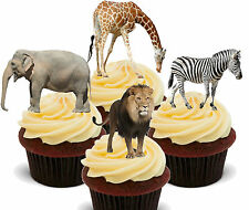 African Safari Animals Edible Cupcake Toppers - Stand-up Cake Decorations Jungle