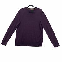 Banana Republic Sweater Merino Wool V Neck Purple Lightweight Men's Size Medium