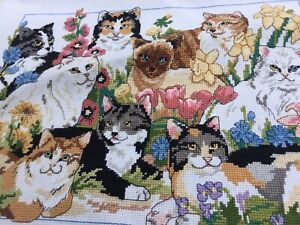 VINTAGE OLD TAPESTRY EMBROIDERED PICTURE HAND STITCH VARIOUS CATS KITTENS CAT