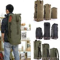 Retro Duffel Cylinder Bag Canvas Travel Backpack Hiking Shoulder Handbag