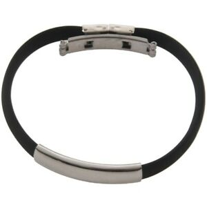 "Bracelet Stainless Steel Cuff Silicone Bangle Hand Chain Men""s Jewelry N9S7"