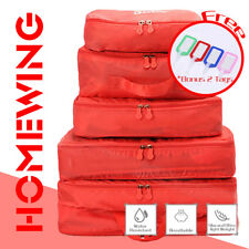 5pcs Travel Luggage Organiser Storage Packing Cube Pouch Bag Water Resistant Red