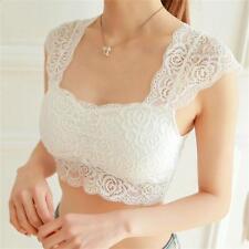 Sleeveless Lace Tank Tops Bustier Bra Vest Crop Top Bralette Camisole Women White