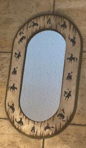 "Vintage Western Cowboy Themed Oval Distressed Wood Mirror 31 3/4x18 3/4"""