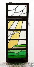 Large Tall Pair of Antique Stained Glass Windows Sea Gull Flying Sun Rays (2988)