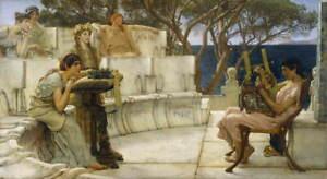 Lawrence Alma Tadema Sappho and Alcaeus Poster Reproduction Giclee Canvas Print