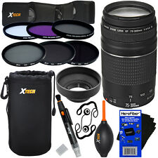 Canon EF 75-300mm f/4-5.6 III Lens +6 Filters + 7pc Kit for Rebel SL1, T1i & T2i