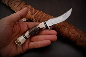 Custom HANDMADE D2 STEEL HUNTING Skinner Fix Blade Knife Stag Antler + sheath