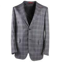 NWT $3490 ISAIA 'Nuova Base S' Gray-Blue Layered Check Wool Sport Coat 42 R