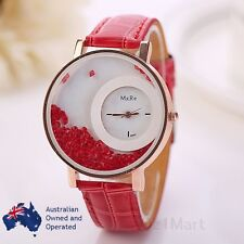 Luxury Red Gold Moving Crystal Women Leather Analog Quartz Wristwatch Hot Gift