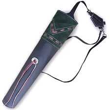 TRADITIONAL FINISHED LEATHER BACK ARROW QUIVER AQ153F BLACK