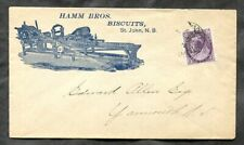 p817 - ST JOHN NB 1899 Hamm Bros Biscuits ILLUSTRATED Advertising Cover