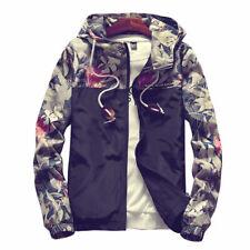 New Casual Floral Men Loose Hooded Jacket Windbreaker Sport Zip Coat black