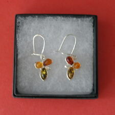 Beautiful Silver Earrings With Multi Color Amber 2.6 Gr.2 Cm.Long + Hooks In Box