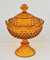 FENTON HOBNAIL AMBER GLASS COVERED CANDY DISH COMPOTE