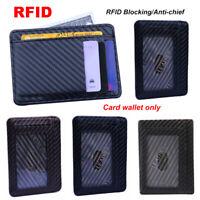 Holder Carbon Fiber Coin Pocket Slim Wallet Anti-chief RFID Blocking Money Clip