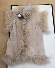 Oasis Real Leather Mongolian Fur Cream Gilet/ Waistcoat  Bnwt Size 8