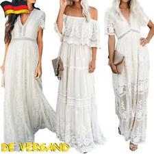 Damen Sommerkleid Strandkleid Party Cocktail Abend Kleid Spitze Boho Maxi AM 119