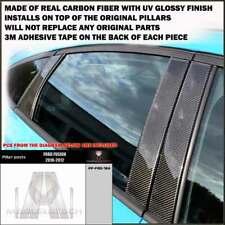 FITS FORD FUSION 2010-12 REAL BLACK CARBON FIBER WINDOW PILLAR POSTS - 6 PCS