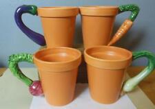 """Vintage Garden Mugs Set of 4 Department 56 Terra Cotta Look Veggie Handles 4.5"""""""