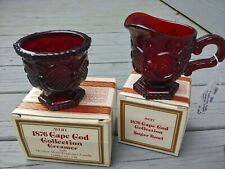 Avon 1876 Vintage Cape Cod Ruby Red Glass Cream & Sugar Bowl Boxed Nos