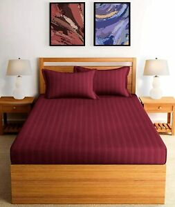 100% Cotton 250TC Satin Stripe Luxury King Size Bedsheet Set Maroon- 2 Pillows