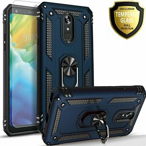 For LG Stylo 5 Case, Ring Kickstand Phone Cover + Tempered Glass Protector