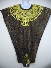 Women's Yellow On Black Handmade African Traditional Bubu Dress. OSFA.