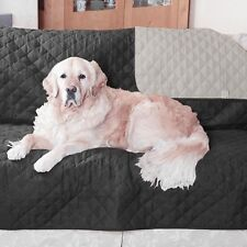 PET CAT DOG REVERSIBLE 2 SEATER  SETTEE SOFA PROTECTOR LEATHER UPHOLSTERY BLACK