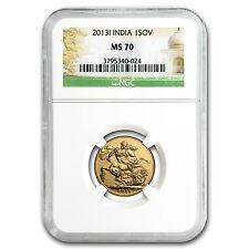 2013 India Gold Sovereign MS-70 NGC - SKU #84164