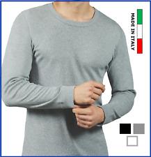 Maglia intima da uomo maniche lunghe in caldo cotone felpato girocollo termica