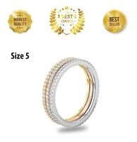 Eternity Band Ring-Rhodium Plated 3 Rows SHINY CZ's, SIZE 5, New with Tags