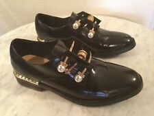 COLIAC Black Patent Leather Pearl & Crystal Embellished Derby Shoes. Wm Sz 38 M.