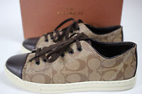 NIB COACH Size 10 Women's Khaki SIG C Chestnut Leather PARKWAY Tennis Shoe