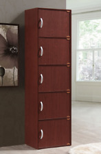 Tall Storage Cabinet 5 Separate Cupboards Kitchen Office Closet Laundry  Wood New