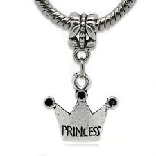 """Princess"" Crown Charm Bead Dangle  for Snake Chain Charm Bracelets"