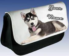 LADIES GIRLS Personalised Siberian HUSKY DOG Pencil Case MAKE UP BAG
