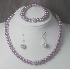 3tlg. Perlen Schmuckset zart- lila 45cm Ohrhaken 925er Silber  NEU