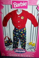 Barbie Fashion Avenue Authentic Jeans Red Sweater Floral Pants NRFB