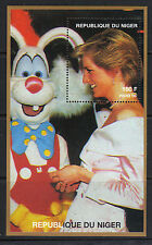 Niger 1997 Diana Princess of Wales meets Roger Rabbit in 1988 MNH S/S