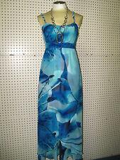 WHITE HOUSE BLACK MARKET-sz 00-BLUE FLORAL MAXI WRAP DRESS--GORGEOUS-NWT $248