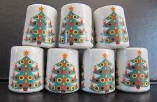 7 Vintage Mini German Christmas Tree Porcelain Candle Holders Germany lot