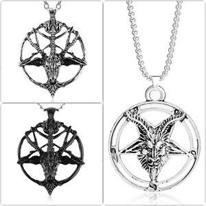 Halskette Pentagramm Baphomet Anhänger Drudenfuß Teufel Satan Ritual Okult Ziege
