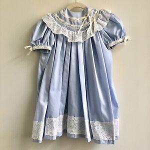 Handmade Toddler Girls Heirloom Dress 2T/3T Blue Ivory Lace
